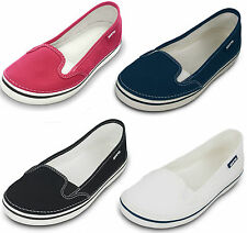 "LADIES CROCS ""HOVER SLIP ON"" CANVAS SLIP ON SHOES/TRAINERS/PLIMSOLE IN 4 COLOURS"