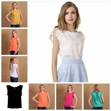 Vogue Womens Loose Casual Chiffon Falbala Sleeve Vest Shirt Tops Blouse Summer