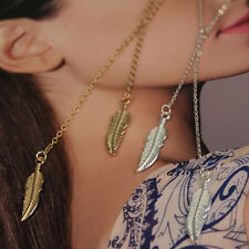 Silver Plated Fashion 2 Strand Leaf Feather Tassel Necklace Gold Silver KIS
