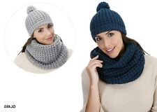 LADIES WINTER WOOLLY WARM SLOUCH BOBBLE POM POM KNITTED BEANIE HAT GL493