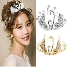 Vintage Crystal Double Swan Pearls Wedding Bridal Headband Crown Tiara 2 Colors