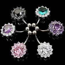 Flower Steel Zircon Crystal Navel Belly Ring Button Bar Body Piercing Jewelry TO