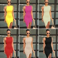 Sexy Women O-Neck Sleeveless Asymmetric Hem Knee Length Club Package Hip Dress