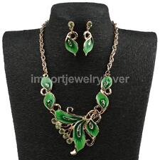 1 Pic Necklace Pendant Earring Enamel Crystal Wedding Chain Alloy Bridal Jewelry