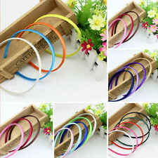 10pcs Women's Plastic Headband Covered Satin Hair Band 1cm Head Band Alice Band