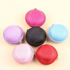 Hard Round Carrying Case Storage Bag Caddy Box for Key Coin MP3 Earphone Cable