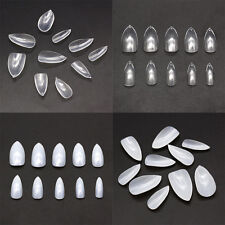 500x Oval Pointy Full Clear/ Natural False Nail Tips Almond Acrylic DIY Gel Claw