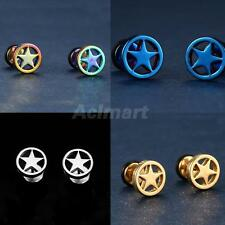 2 pcs Stainless Steel Circle Five-pointed Star Earrings Studs