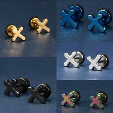 Punk Style Women Men Stainless Steel Crossing Earrings Jewelry Ear Studs