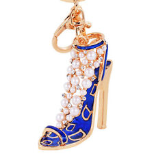 Fashion Enamel Women Handbag Keychain Crystal Golden High Heeled Shoes Key Ring
