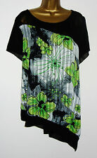 Ladies SimplyBe Blouse Plus Size Black Green Silver Floral Chiffon Tunic Top