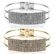 Sparkly Fully-Jeweled Rhinestone Bangle Cuff Bracelet Wristband Silver/Gold