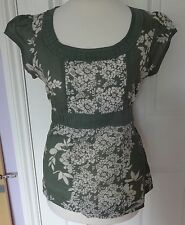 EX MONSOON Olive Green Floral Blouse Top. Sizes 8. Scoop Neck, Tie Waist