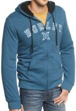 NEW MENS HURLEY AUSTIN ZIP UP SHERPA SWEATSHIRT HOODIE HEATHER NAVY