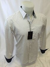 Mens HOUSE of LORDS Designer Woven Dress Shirt WHITE Paisley Cotton NWT 138 NWT