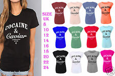 Ladies Cocaine and Caviar Print Roll Up Cap Sleeve Womens Top T-Shirt 6-18