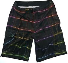 Hurley Men's Black Plaid Surf skate Boardshort Swim Trunk size 30, 32 NEW