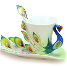 Ceramic Peacock Tea Cup Set Tableware for Dinning Table Home Decor Saucer Spoon