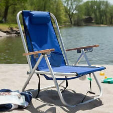 Rio Deluxe Hi-Back Backpack Beach Chair 4-Position Recliner Cooler Blue Green