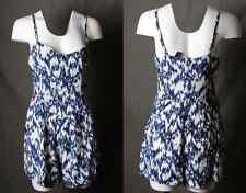 "NEW ""Forever 21"" Navy Blue Abstract Tie Dye Boho Pockets Casual Romper"