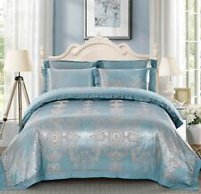 Luxury 4pc. Blue & Gray Jacquard Silk & King Queen Cotton Duvet Bedding Set