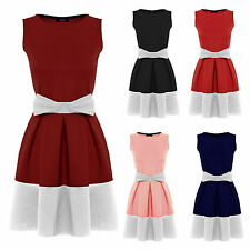 WOMENS LADIES BOW CONTRAST PANEL STRETCH FIT & FLARE SKATER DRESS PLUS SIZE 8-26