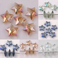 DIY 10/20PCS Faceted Star Glass Crystal Charm Loose Spacer Beads Finding 10x4MM