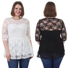 Plus Size Summer Sleeves Gorgeous Pullover Casual Blouse Lace Tops 1X-5X BBW