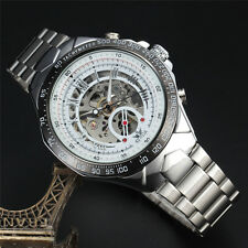 Automatic Wristwatch Sewor Gents Skeleton Fashion Stainless Steel Mechanical Men