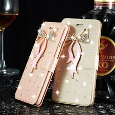 Ultrathin Girl Bling Crystal Flip Case Leather Wallet Cover For iPhone Samsung