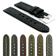 StrapsCo Thick Vintage Black Watch Strap Band w/ Heavy Duty Contrast Stitching