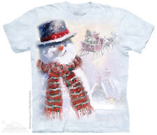 Happy Snowman T-Shirt by The Mountain. Deer Santa Claus Tee Sizes S-5XL NEW