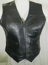 WOMEN'S ZIP FRONT LAMBSKIN LIGHTWEIGHT REALLY NICE BLACK LEATHER MOTORCYCLE VEST