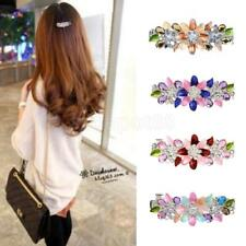 Fashion Women Girl Flower Crystal Rhinestones Barrette Hair Clip Hairpin