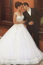 New White/Ivory Wedding Dress Bridal Ball Gown Custom Size 6-8-10-12-14-16-18+