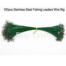 100Pcs Stainless Steel Fishing Leader Wire Rig with Snap and Swivel Nylon Coated
