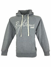 SALE £27 // Mens Righteous London Classic Hoodie Jumper Top in Grey Size Medium