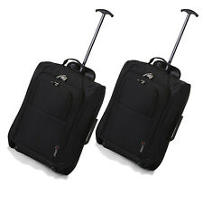 """Twin Set 21"""" Carry On Approved Trolley Cabin 2 Wheeled Hand Luggage Suitcase"""