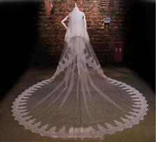 2 Layer Ivory 3M lace Sequins  Edge Bridal Veils Tulle Wedding Veils With Comb