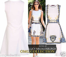 WOMENS NEW LADIES CELEB LUCY INSPIRED PRINTED SKATER DRESS SIZE 8-16