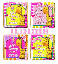 Personalised Cute Giraffe Christening Chocolate Favours. Girl/Boy/Mixed/Twins