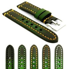 StrapsCo Green Thick Vintage Watch Band Strap - Heavy Duty Contrast Stitching