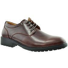 Mens Oxford Dress Shoes Lace Up Padded Almond Toe Chunky Heel Dark Brown