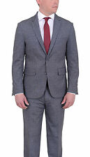 Mens Extra Slim Fit Gray Textured Unstructured Stretch Wool Blend Suit