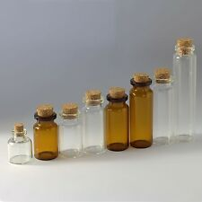 Diameter of 22mm Tiny Wishing Glass Bottles Vial with Cork Clear Empty