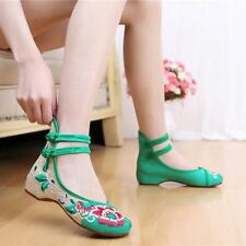 NEW Chinese Style Shoes Dance Mix Color Embroidered Wedge Heel Womens Shoes Size