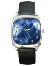 Fantasy White Wolf Animal Round & Square Leather Strap Watch