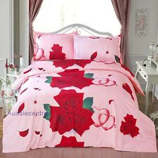 3D Bedding Quilt Doona Duvet Cover Bed Sheet Pillowcase Set Queen -Love Bed Rose