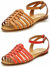 NEW gladiator Tallulah leather sandals-TAN/CORAL-TO FIT SIZE 2 3 4 5 6 7 RRP £25