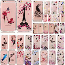 Ultra Slim Transparent Flower Pattern Back Case Cover Skin For iPhone 6/ 6s Plus